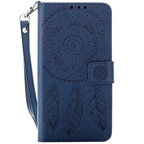 EUWLY Kompatibel mit Huawei P8 Lite 2017 Ledertasche Lederhülle Handytasche Lederhülle Tasche Wallet Hülle Bookstyle Handyhülle Klapphülle Flip Hülle Cover mit Kartenfach Standfunktion,Traumfänger
