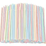 Flexible Plastic Straws 300 Pack - Striped Multi Colored BPA-Free Disposable Bendy Straw 8' Long - by YANGTE