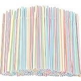 300Pcs Cannucce flessibili in Plastica, a Righe Multicolore, Senza BPA, Usa e Getta, Piegh...