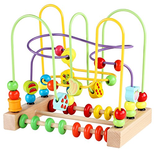 QZMTOY Bead Maze Toy for Toddlers Wooden Colorful Roller Coaster Educational Circle Toys for Kids Sliding Beads On Twists Wire Training Child Attention Count and Grasping Ability (QZM-0135-Toys)…