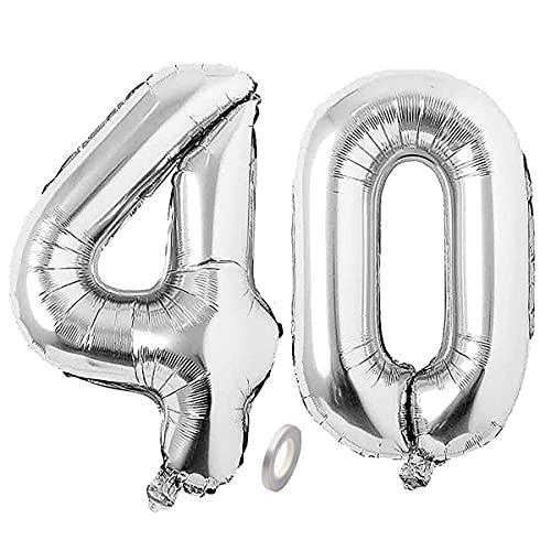 Jrzyhi Globos con números para 40 cumpleaños, plateados, con número 40 de helio, número grande, número XXL 40. Happy Birthday, número gigante para cumpleaños, bodas, fiestas, decoración, 32 pulgadas
