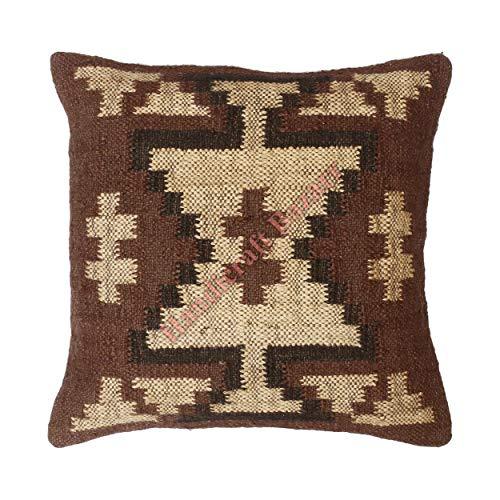Handicraft Bazarr Funda de cojín de lana bohemia de yute Kilim, para decoración del hogar, estilo turco, vintage, rústico, funda de almohada