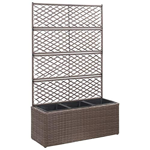 SKM Trellis Raised Bed with 3 Pots 32.7'x11.8'x51.2' Poly Rattan Brown -6938