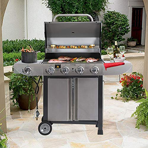 ZYFWBDZ 4-Burner Stainless Steel Liquid Propane Gas Grill, Side Burner Design Can Cook,Barbecue Net And Grill Iron Plate 2 Modes, It Can Move,White