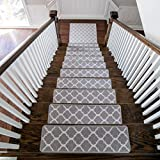 Benissimo Stair Treads Carpet, Landing Latex Non Slip Stair Rugs, Modern Printed Design, Vibrant and Soft Non-Skid Stair Runner for Indoor Wooden Step, Set of 13 (9'x32') + 1 (31'x31'), Grey