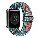 Adjustable Stretchy Solo Loop Nylon Strap Compatible with Apple Watch Elastic Band 38mm 40mm iWatch Series SE/6/5/4/3/2/1 (Green Arrow, 38mm/40mm)