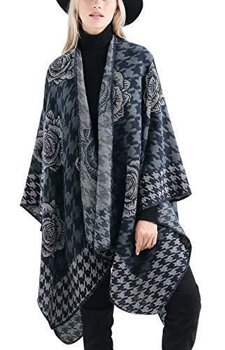 Poncho Femme Hiver Chaud Châle Élégant Cape Epais - Bleu