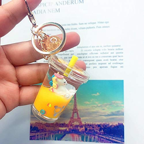 JINSUO Key Chain Floating Creative Unicorn Acrylic Milk Bottle Keychain Liquid Quicksand Drift Bottle Keyring For Women Backpack Gift (Color : YELLOW)