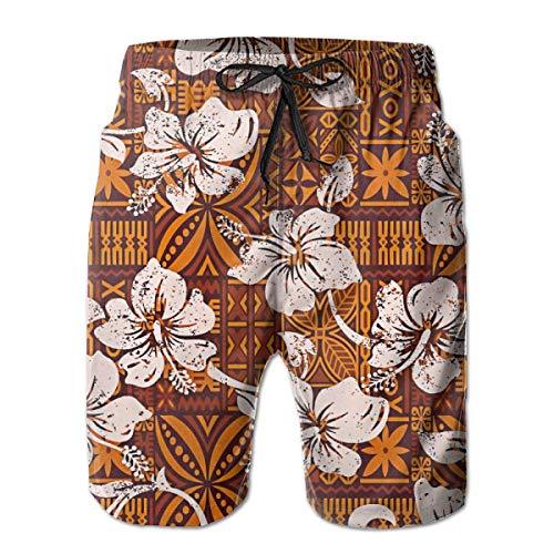 Zhengzho Herren Badehose Tribal Vintage Hawaiian Hibiskus Blumen Surfing Beach Board Shorts Badebekleidung