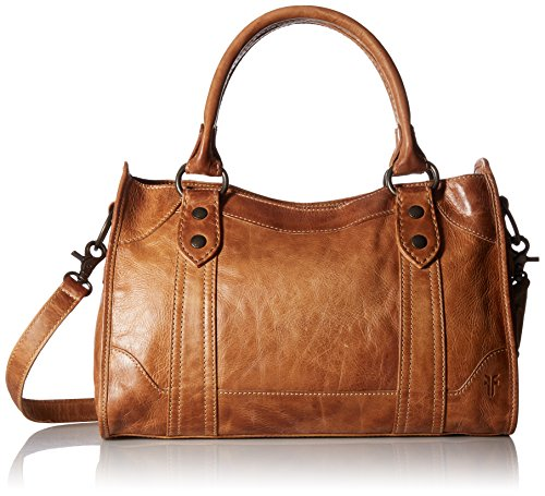 Antique pull up leather zip satchel from Frye's best selling Melissa collection 1 interior zip pocket, 2 interior sleeve pockets Adjustable leather straps Measurements: 14.5 inches W X 9 inches H X 4 inches D, handle drop 6.5 inches