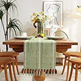 Rustic Linen Table Runner with Handmade Tassel, Hemstitched Embroidery Farmhouse Style Table Runners 72 inches Long for Party and Dining Room Decorations, 13 x 72 inch - Sage Green