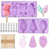 Stampi Ghiaccioli in Silicone,2 Pz Stampi per gelato bambini riutilizzabili Popsicle stampi con 50 manico in legno,per Preparazione di Gelati/Sorbetti