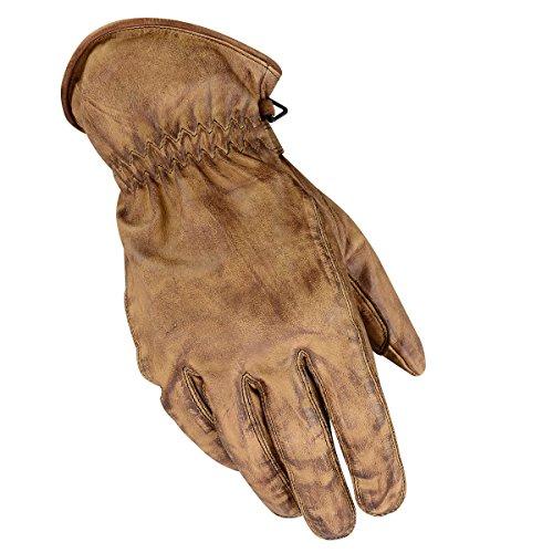 BOSmoto Motorrad Handschuhen Racing Kevlar gewachst Leder Handschuhe Wachs (XL, Wachs Braun)
