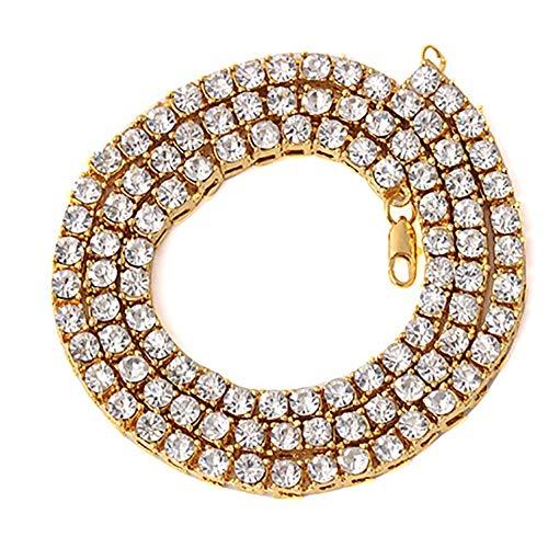Collar de Hip Hop para Hombre, 1 Fila, Colgante de aleación de Diamantes, Joyas de Diamantes de imitación completos, Oro, 20 Pulgadas