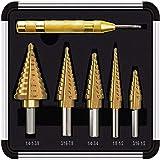 Kit trapano a gradino, set di punte da trapano a gradino in titanio HSS da 5 pezzi, set di trapani a gradino in acciaio ad alta velocità 50 dimensioni multiple