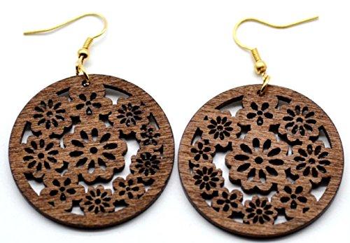 Dojore Ohrringe, aus dunkelbraunem Holz, rund, Blumendesign, 1 Paar 5cm Durchmesser. Ethno-Schmuck im afrikanischen Stil.