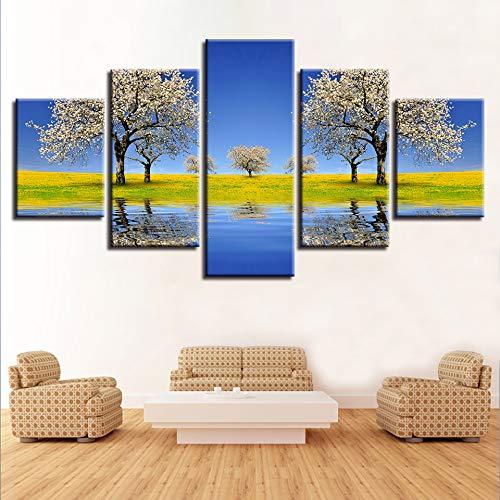 Decoración de Pintura Mural 5 Hermoso árbol de peral río y Paisaje de Campo de Hierba Verde