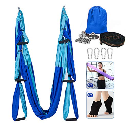 Hamaca de yoga, juego de columpio de yoga aéreo, ultra fuerte antigravedad yoga Hamaca/hendida/herramienta de inversión para gimnasio en casa Fitness (azul claro y azul oscuro)