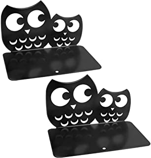 BestFire® Black Bookends 1 Pair Metal Book Dividers Heavy Duty Nonskid Book Holder Stand Sturdy Owl Desk Book Organizer Adjustable Animal Art Book Ends Decorative for Kids Shelves and Heavy Books