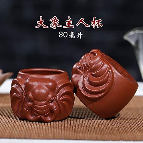 HePing Wu Boutique Dahongpao Erz lila Blume handgemachte Waren Master Elefant cup geformt (Color : Purple mud)