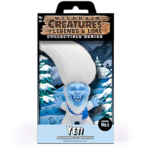 """WILD HAIR CREATIONS' Yeti from The Creatures of Legends and Lore, 5.5"""" Collectible Vinyl Toy/Novelty Figure with Troll Hair and Colorful Packaging/Creature Fun Facts."""