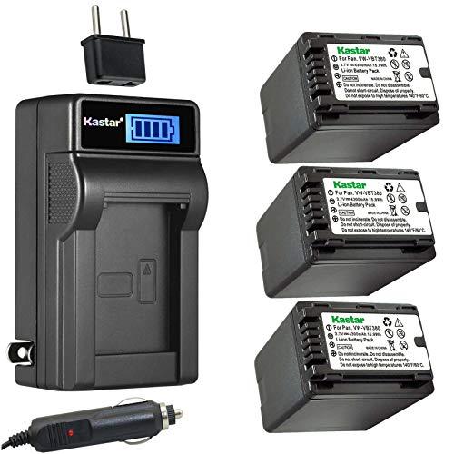 Kastar 3-Pack VW-VBT380 Battery and LCD AC Charger Compatible with Panasonic HC-V550M, HC-V550K, HC-V620M, HC-V710, HC-V720, HC-V720M, HC-V720GK, HC-V720MGK, HC-V720K, HC-V750, HC-V750M Camera