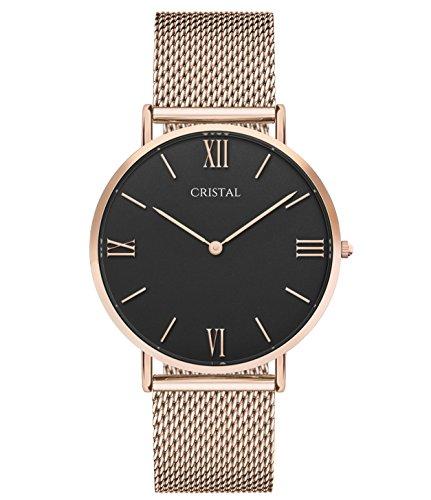 Montre Cristal Or Rose - Cadran Noir - Bracelet milanais Or Rose (Or Rose/Noir)