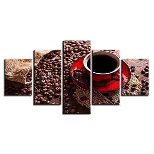 QZGRQ Cuadro en Lienzo para decoración del hogar, imágenes Impresas en HD, 5 Piezas, Taza de café roja, Cartel de Granos de café, Cocina, café, Arte de Pared, Cuadros modulares