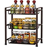 Spice Rack Organizer, GSlife 3 Tier Spice Rack for Countertop Stable Spice Shelf Standing Storage Rack for Kitchen, Bronze