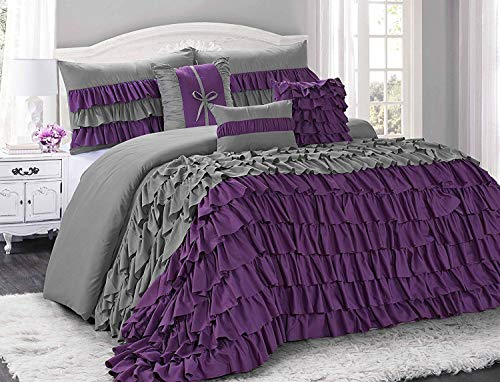 bednlinens&things 7 Piece Brise Comforters Set Bag in a Bag with Bedskirt, Pillow Cases,Decorative Cushions Queen King (Brise,Purple/Grey, Queen)