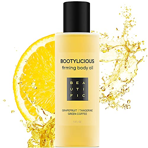 BEAUTIFIC Natural Firming Body Oil | Bootylicious | Skin Tightening Anti Cellulite Oil | Body Oil Moisturizer With Grapefruit Essential Oil & Tangerine and Green Coffee Oil 5 fl.oz