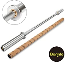 Bonnlo Barbell Olympic Bar, 5 Feet Olympic Weightlifting Bar 28mm Grip 600 lbs Capacity Bar Bench Press Chrome with Rotating Sleeve