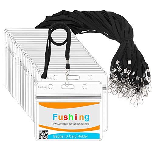 Fushing 30Pcs Clear Plastic Horizontal Name Tags Badge ID Card Holders and 30Pcs Flat Neck Lanyards with Swivel Hook