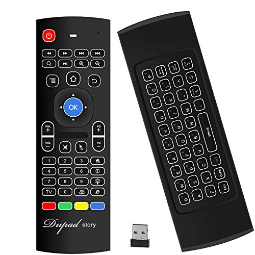 Tastiera retroilluminata ad aria Mouse Kodi Remote MX3, 2.4 Ghz Mini Wireless Android TV Control e apprendimento a infrarossi per PC Android TV Box Box di Dupad Story