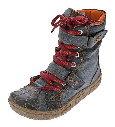 TMA Damen Leder Stiefeletten 7087-N Knöchel Schuhe gefüttert Winter Stiefel Schwarz/N Used Look Gr. 37