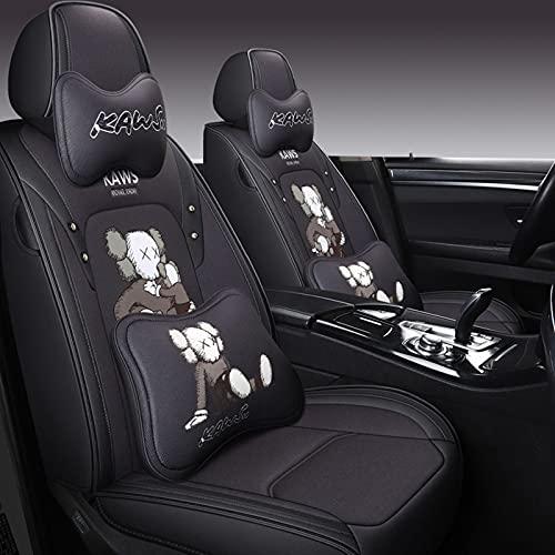 HZWZ Juego Completo de Fundas de Asiento de Coche de Cuero de Dibujos Animados con Impermeables compatibles con Bolsas de Aire Fit Set para Accesorios Interiores de automóviles,Negro