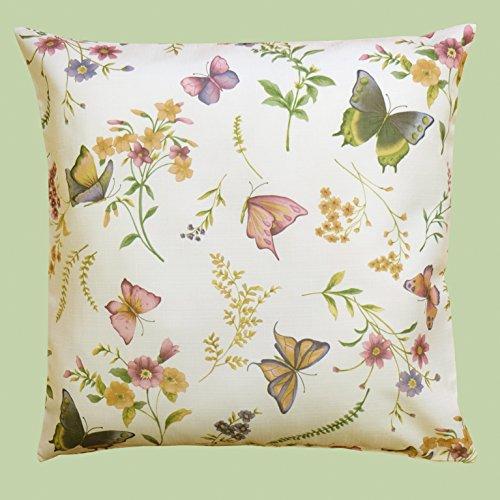 Kamaca Serie Schmetterlinge AUF DER BLUMENWIESE in Creme mit zarten Pastelltönen EIN Schmuckstück in jedem Raum (Kissenbezug 40x40 cm)