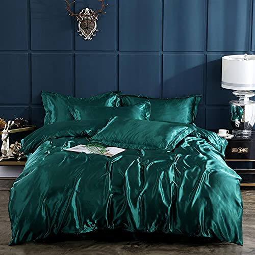 Ropa de Cama Juego de Funda nórdica Verde 180x220 cm Seda Satinada Ultra Suave con sábana...