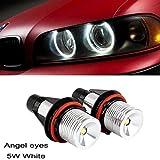Ricoy 2x 5W For BMW E39 E53 E60 E61 E64 E65 E66 E87 X3 X5 LED Angel Eye Halo Ring Marker Side Light White LED Bulb(Pack of 2) (E39)