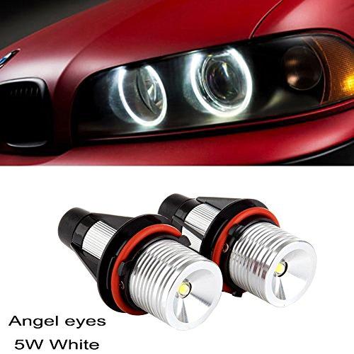 Ricoy 2x 5W For E39 E53 E60 E61 E64 E65 E66 E87 X3 X5 LED Angel Eye Halo Ring Marker Side Light White LED Bulb(Pack of 2) (E39)