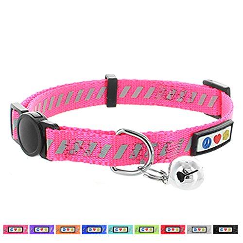 Pawtitas Traffic reflecterende kattenhalsband collectie met veiligheidssluiting en afneembare bel | Verstelbare kattenhalsband – halsband voor katten Roze