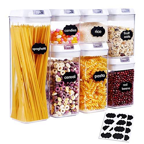 SUCHDECO Vorratsdosen Set Kunststoff Frischhaltedosen Luftdicht Vorratsdosen BPA Frei für Lebensmittel 7 teilige Set mit 16 Zettel & 1 Markierstift 0.5LX2 /0.8LX2 /1.2LX2 / 1.9LX1