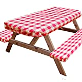 I-GIFT 6' Reusable Picnic Table Bench Covers Waterproof 72x28 Inch Vinyl Fitted Outdoor Tablecloth Elastic Heavy Duty 3 Pieces Camping Patio Park Red