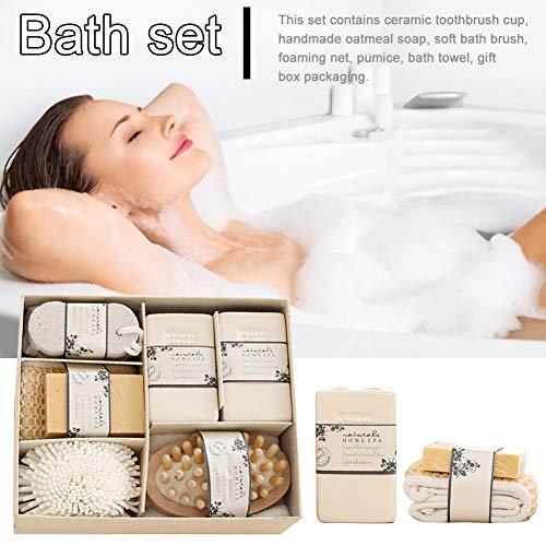 Sue-Supply Spa Essentials Bad Set, Dry Brushing Body Brush Set, Pumice Stone Sponge Houten Massager Penseel Zeep Gift Set Voor Vrouwen methode