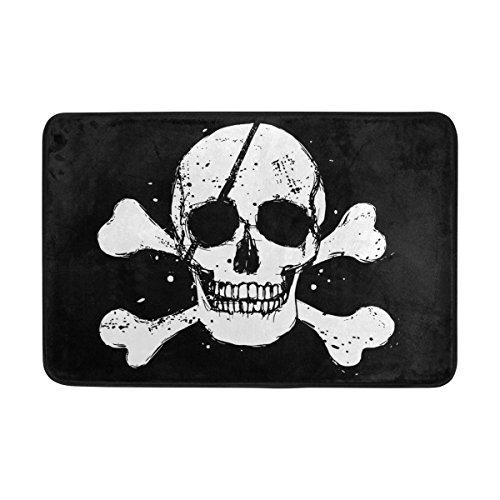 COOSUN Negro de la Bandera Pirata Felpudo, Entrada de Forma Cubierta Exterior Alfombra Puerta con Cubierta Antideslizante, (23,6 por 15,7 Pulgadas) 23.6x15.7 Pulgadas Multicolor