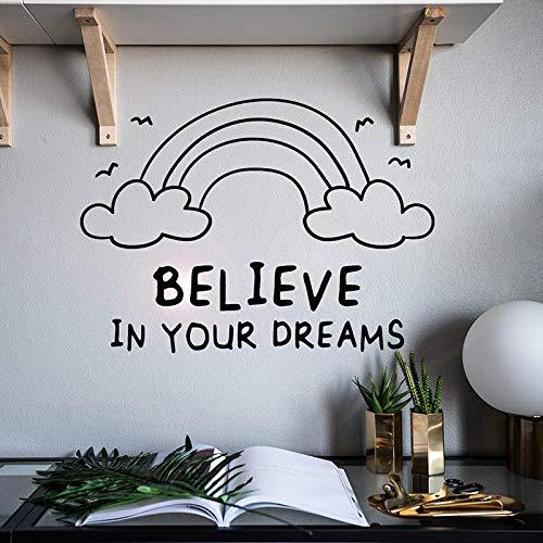 Tianpengyuanshuai De woorden geloven dat uw droom regenboog vinyl muursticker decoratie voor uw huis woonkamer kunst