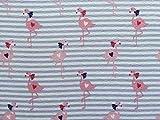 1m Jersey Stoff mit süßen Flamingos auf Streifen |