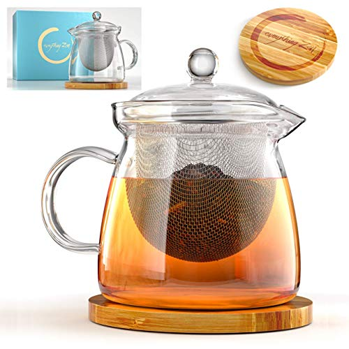 Glass Teapot with Infuser and Bamboo Trivet in Beautiful Gift Box - Premium Quality - Oversized Removable Strainer - Lid Fits With or Without Strainer - Loose Leaf & Blooming Tea Pot - Perfect Gift