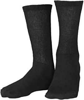 King Size Extra Wide Socks size 12-18 Black Crew, Non-Binding and Seamless Toe for Sensitive Tired and Achy feet