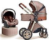 Cochecitos livianos para bebés 3 en 1 Cochecito de seguridad de carro de bebé, □ Cochecito plegable Cochecito de lujo Cochecito de lujo Vista altas PRAM Cochecito recién nacido con pad de refrigeració